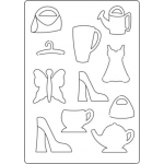 A4 Totally Themed Template FEMININE Bags, Shoes, Dress, Latte, Tea