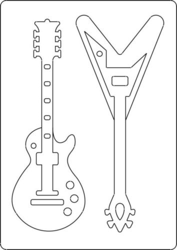 guitar templates for cakes - a4 size template with style guitar 2 guitars