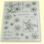 RedHotBed Unmounted Rubber Stamps A5m FLORAL, Daisy.