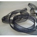25m Reel BLACK Organza Ribbon 9mm Wide