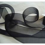 25m Reel BLACK Organza Ribbon 25mm Wide