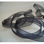By The Metre.... 9mm wide ORGANZA RIBBON.  BLACK