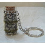 Keyring.  Gemstone Chip Bottle.  PYRITE