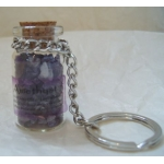 Keyring.  Gemstone Chip Bottle.  AMETHYST