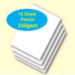 A4 Pack PLAIN CARD. 240gsm. WHITE.  Qty:  10