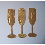Diecut Champagne Flutes. Gold Satin Embosed Foil.  QTY:  26