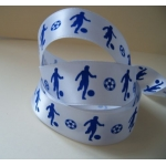 "By The Metre... 25mm (1"") wide FOOTBALL RIBBON. Blue & White"