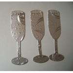Diecut Champagne Flutes. Silver Satin Embosed Foil.  QTY:  26