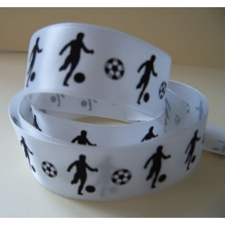 "By The Metre... 25mm (1"") wide FOOTBALL RIBBON. Black & White"