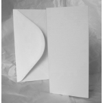 12 Card Blanks & DL Envelopes. WHITE. Hemp Texture.100mm x 210mm