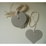 12 Rustic Country Heart Tags, Strung.  Natural Recycled Board (Thick, 1mm/1.5mm