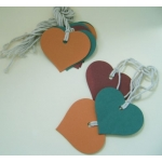 12 Rustic Country Heart Tags, Strung.  Autumn Selection