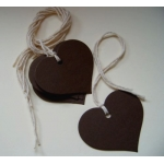 12 Rustic Country Heart Tags, Strung.  Chocolate Brown