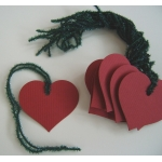 12 Rustic Country Heart Tags, Strung.  RED with Green Glitter String