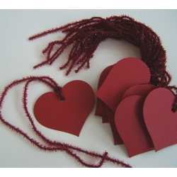12 Rustic Country Heart Tags, Strung.  RED with Red Glitter String