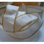 25m Reel.  WIRED RIBBON.  25mm Wide.  IVORY with GOLD EDGE