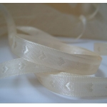 25m Reel.  Woven Heart SATIN RIBBON.  10mm Wide.  IVORY/CREAM