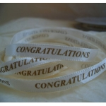 25m Reel. 6mm Satin Ribbon. CONGRATULATIONS. GOLD on IVORY.  Bridal etc