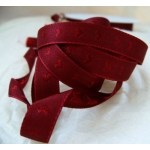 25m Reel.  Woven Heart SATIN RIBBON.  10mm Wide.  WINE RED