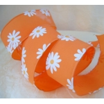 10m Reel.  WIRED RIBBON.  38mm Wide.  TANGERINE & DAISY