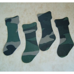 15 Christmas Stockings. DieCut.  CAMOUFLAGE. Woodland Green