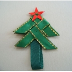 8 Handmade GREEN Ribbon Tree Self-adhesive Embellishments, 48mm,