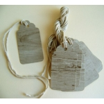 12 Rustic Classic Gift Tags, Strung.  Wood Effect