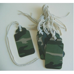 12 Rustic 'Dog-Tag' Gift Tags, Strung.  CAMO WOODLAND GREEN