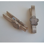 5 Decorative Scorched Wooden 75mm Pegs. Primitive/Folk Art Style. GINGERBREAD MEN