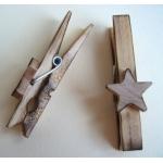 5 Decorative Scorched Wooden Pegs. Primitive/Folk Art Style. STARS