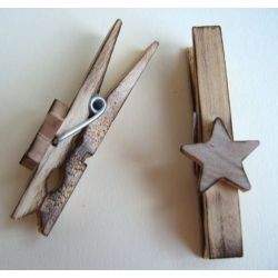 5 Decorative Scorched Wooden Pegs. Primitive/Folk Art Style. STARS