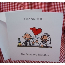 Thank you - BEST MAN Card, with envelope. (#1) Can be personalised.