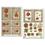 3D Die Cut Decoupage. 2 Sheet Pack. BEAUTIFUL POINSETTIAS