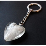 Large Glass Heart Keyring. Boxed. SILVER/WHITE