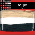 Pack PAPER RAFFIA 30yds, BEIGE, BLACK & WHITE