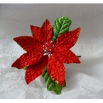 large Velvet Poinsettia Pick.  Cake/Floral decoration. (#122)