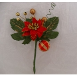 Small Velvet Poinsettia Pick.  Cake/Floral decoration. (#123)
