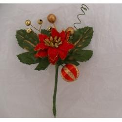 Small Velvet Poinsettia Pick.  Cake/Floral decoration. (#123)