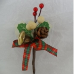 Small Tartan, Acorn & Bell Pick.  Cake/Floral decoration. (#124)