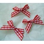 Ribbon Bows. 30mm Gingham. RED & WHITE.  QTY: 24