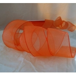 25m Reel.  ORGANZA RIBBON.  25mm Wide.  TANGERINE (Col26)