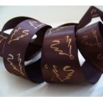 "20m Reel. SATIN Christmas Ribbon 25mm wide (1"") GOLD TREE Choc"