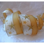 20m Reel. Wired CHRISTMAS Ribbon 40mm wide. GOLD GLITTER STARS