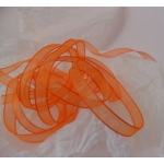 25m Reel.  ORGANZA RIBBON.  9mm Wide.  TANGERINE (Col26)