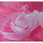 25m Reel.  ORGANZA RIBBON.  15mm Wide.  WHITE