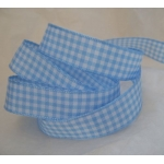 By the Metre, GINGHAM Country Check Ribbon 15mm wide.  BLUE & WHITE
