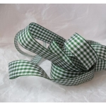 By the Metre, GINGHAM Country Check Ribbon 25mm wide. GREEN & WHITE