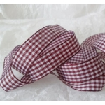 By the Metre, GINGHAM Country Check Ribbon 16mm wide.  PLUM BURGUNDY