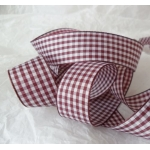 25m Reel. GINGHAM Country Check Ribbon 16mm. PLUM BURGUNDY