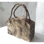 Natural Birchwood Bag Shaped Planter/Gift Bag . Perfect Floral/Wedding decor